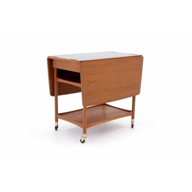 Danish Modern Drop Leaf Teak Serving Cart For Sale - Image 4 of 10