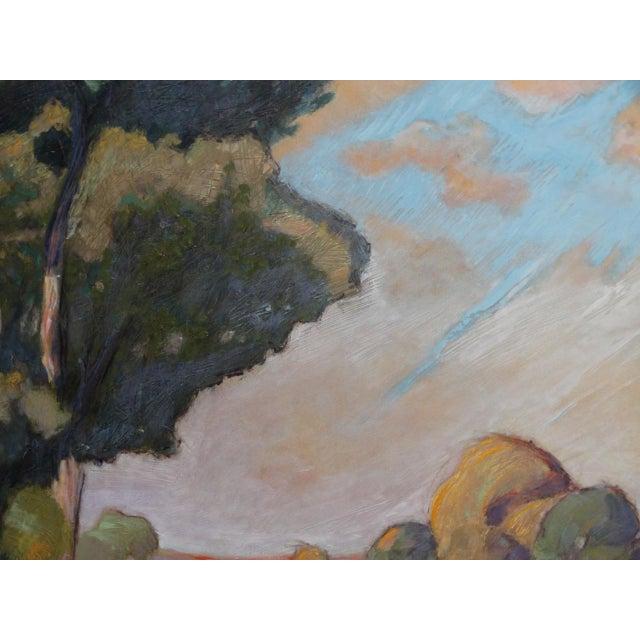 1930s 1930s Dan Burgess Landscape Painting With Bridge For Sale - Image 5 of 11