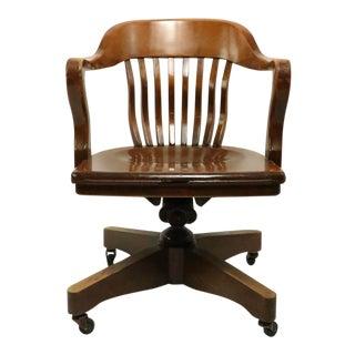 Walnut Swivel Tilt Yale Library Office Desk Chair Attributed to Gunlocke For Sale