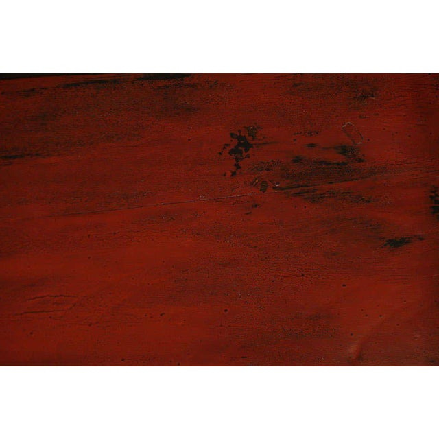 Small 19th Century Chinese Bamboo with Red Lacquered Top Coffee Table For Sale In New York - Image 6 of 11