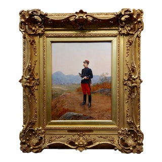 Etienne Berne-Bellecoeur 1906 French Officer Taking an Observation -Oil Painting For Sale