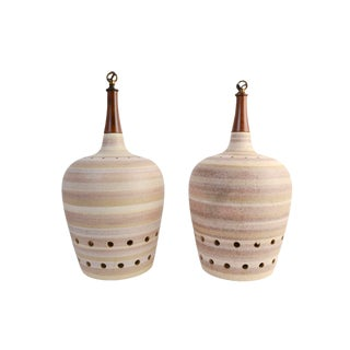 Ceramic & Teak Pendant Lamps - A Pair For Sale