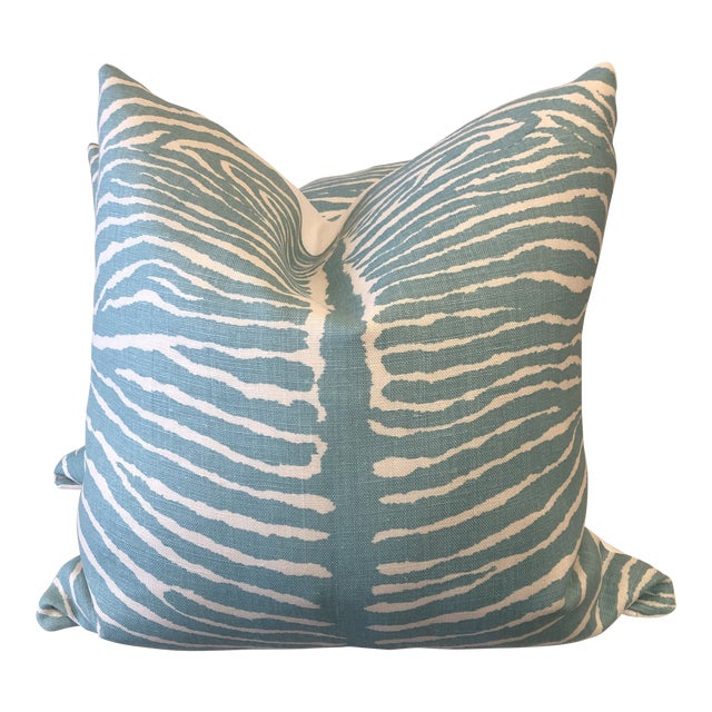 "Brunschwig & Fils ""Le Zebre"" in Aqua 22"" Pillows-A Pair For Sale"