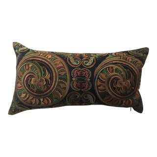 Hollywood Regency Silk Embroidered Chinoiserie Boudoir Pillow For Sale
