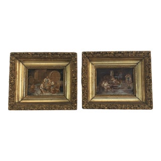 Late 19th Century Framed Oil on Canvas of Monks Making and Tasting Wine, a Pair For Sale