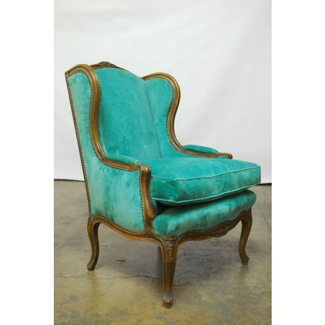 Louis XV Turquoise Velvet Wingback Chairs - Image 3 of 7