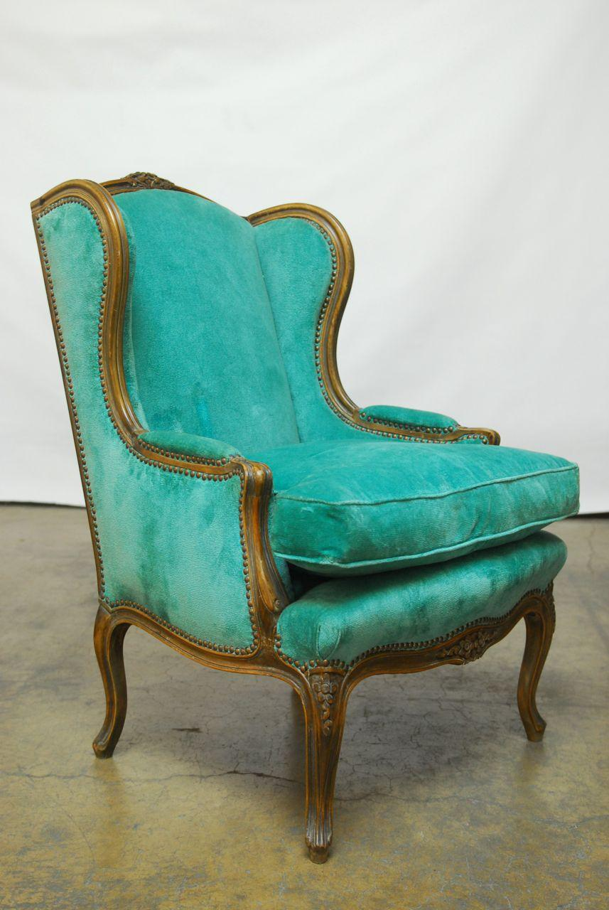 Louis XV Turquoise Velvet Wingback Chairs   Image 3 Of 7