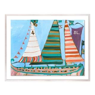 SB Fisherman's Island by Lulu DK in White Wash Framed Paper, Small Art Print