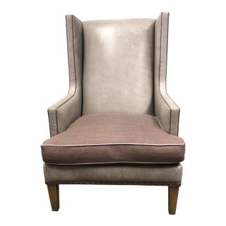 Crate & Barrel Luxe Leather Wingback Chair For Sale