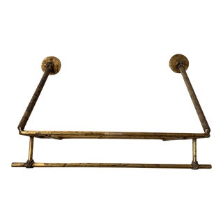 Gilt Metal Wall Shelf With Twisted Rope Detail For Sale