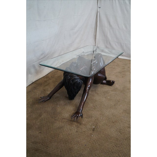 Bronze Nude Base & Glass Top Coffee Table For Sale - Image 5 of 10