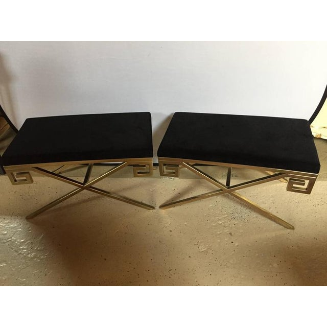 """Hollywood Regency Greek Key """"X"""" Benches - a Pair - Image 2 of 6"""