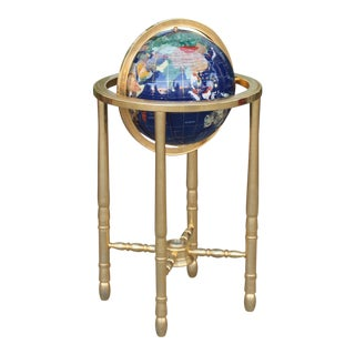 Vintage Beautiful Gold and Gemstone Floor Globe For Sale