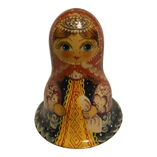 Russian Hand Painted Roly Poly Nevalyashka Doll Bell Chime For Sale