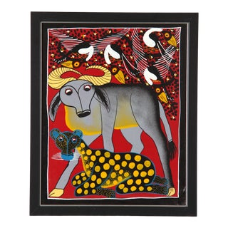 Vintage African Tinga Tinga Oil Painting of a Water Buffalo and Cheetah by Lewis For Sale