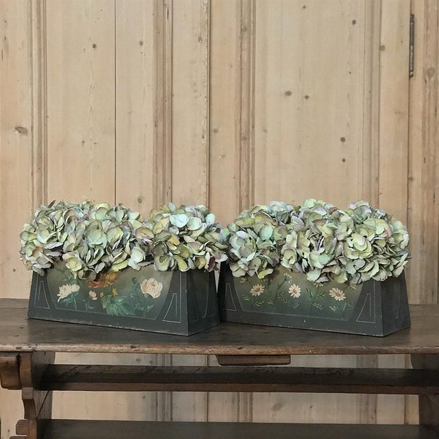 Art Deco Pair French Art Deco Painted Jardinieres / Planter Boxes For Sale - Image 3 of 13