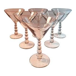 Libbey Metropolis Clear Ball Stem Martini Glasses - Set of 6
