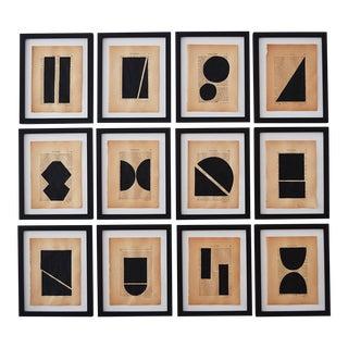 Josh Young Design House Noir Géométrique Collection Paintings, 12 Pieces
