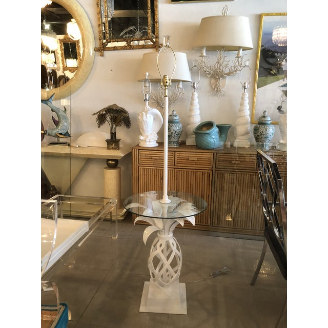 Vintage Hollywood Regency White Lacquered Metal Pineapple Floor Lamp Table For Sale - Image 11 of 11