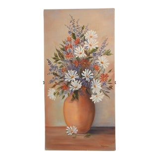 Impressionist Oil Painting by Cinfici Vintage Art Boho Daisies Floral Bouquet For Sale