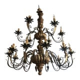 Image of Vintage Italian Hand Carved Wood and Hand Wrought Iron 18-Light Candelabra Chandelier For Sale