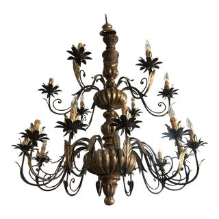 Vintage Italian Hand Carved Wood and Hand Wrought Iron 18-Light Candelabra Chandelier For Sale