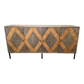 Rustic Dark Gray and Tan Dimond Cut Pine Sideboard For Sale