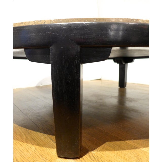 Edward Wormley Cocktail Table with Travertine Top - Image 7 of 9