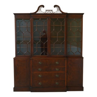 Kittinger Vintage 1940s Era Inlaid Mahogany Breakfront For Sale