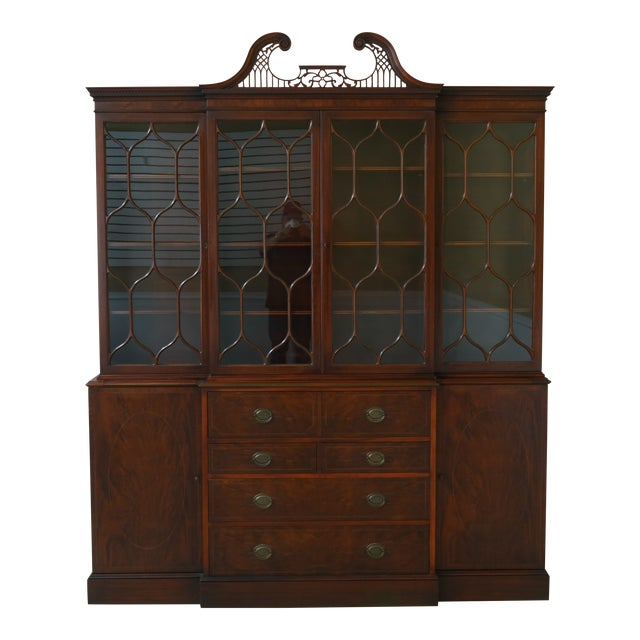 Kittinger Vintage 1940s Era Inlaid Mahogany Breakfront For Sale