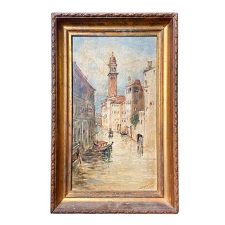 Antique 1899 Oil Painting San Giorgio Dei Greci Church Bell Tower Venice Italy For Sale