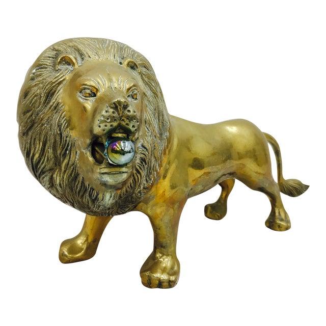 Vintage Brass Lion Sculpture For Sale