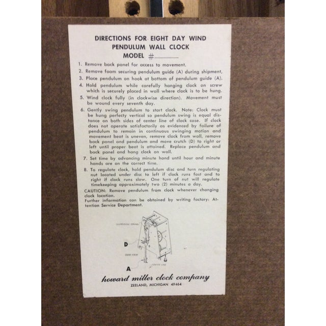Rare Arthur Umanoff Howard Miller Key Wind Pendulum Clock For Sale - Image 10 of 11