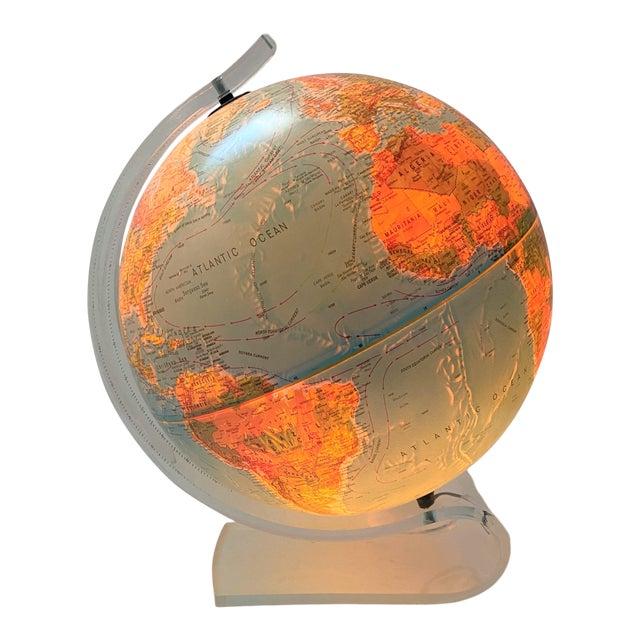 Lucite Holder and Vintage 1987 Illuminated World Globe For Sale