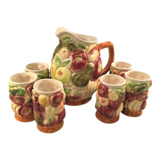 Vintage Ceramex Del Norte Ceramic Fruit Pitcher With Tumblers - 7 Piece Set For Sale