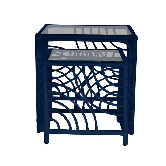 David Francis Swirl Nesting Tables - Navy Blue For Sale - Image 4 of 6
