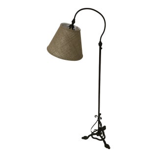 Wrought Iron Swing Arm Adjustable Floor Lamp W/ Shade For Sale
