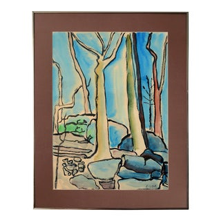 1960s Modernist Abstract Landscape Watercolor Painting, Framed For Sale
