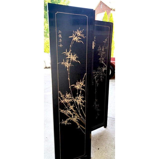 1940's Asian Jade and Black Lacquer Coromandel Room Divider For Sale - Image 10 of 13