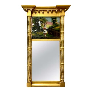 19th Century Federal Eglomise Wall or Table Mirror For Sale