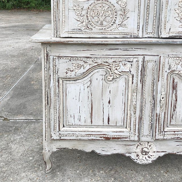 White 18th Century Country French Painted Bookcase ~ Buffet a Deux Corps For Sale - Image 8 of 13