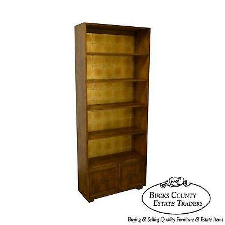 Henredon Campaign Style Open Bookcase Cabinet For Sale - Image 13 of 13