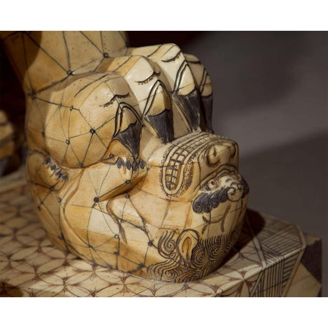 Pair of Palace Sized Bone Foo Dogs Sculptures For Sale - Image 10 of 11