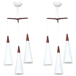 1950s Vintage Holmegaard Glasvaerk Triple Teak and White Glass Hanging Pendants- a Pair For Sale