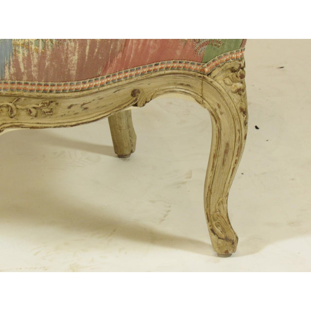 Beech Louis XV-Style Painted Bergere For Sale - Image 7 of 8