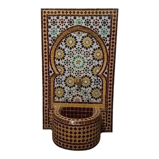 Moroccan Mosaic Tile Fountain For Sale