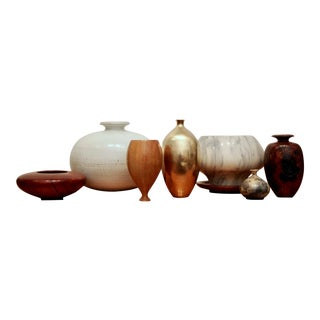 Brass, Wood, Marble & Pottery Vessel Collection, Set of 8 For Sale