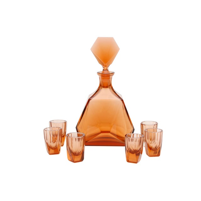 Glass Art Deco Decanter With Six Matching Glasses For Sale - Image 7 of 7