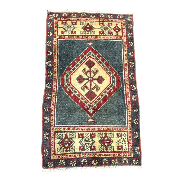 Turkish Oushak Small Wool Rug - 1′8″ × 2′11″ For Sale