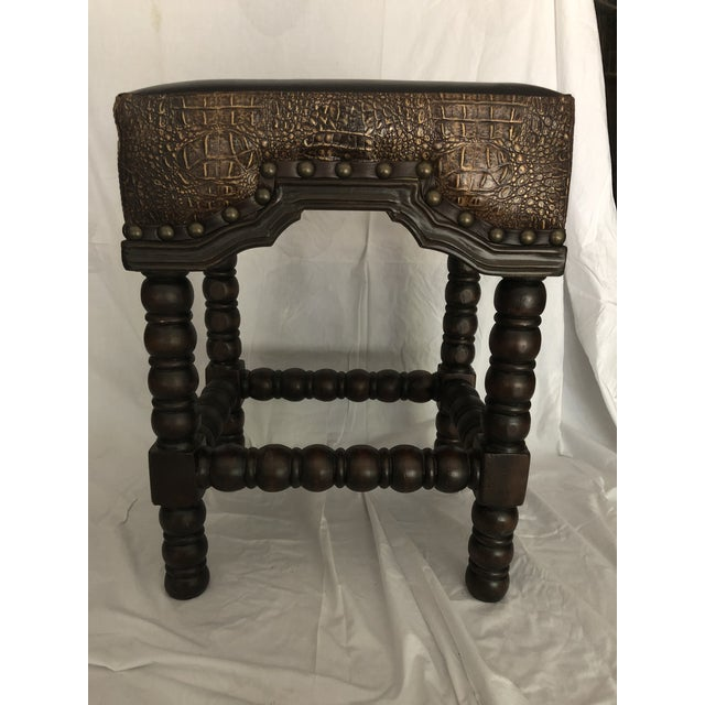 Gold Rustic Ranch Bar Stool With Brown Leather & Crocodile Embossed For Sale - Image 8 of 8